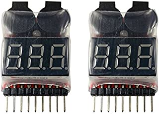 Apex RC Products 2 Pack Lipo Battery Voltage Checker Alarm LED 1-8 Cell 1655