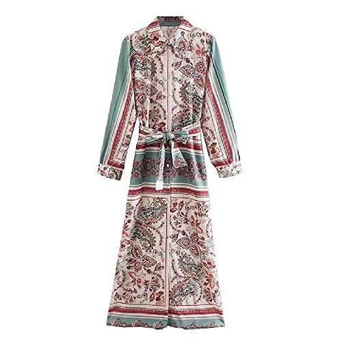 NOBRAND Jurken Vrouwen Vintage Positie Cashew Bloemen Print Sjassen Shirtdress Dames Lange Mouw Business Chic Side Split Jurken