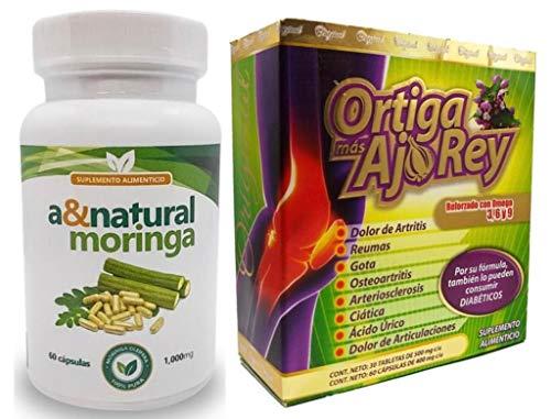 ORTIGA MAS AJO Rey 100% Original 2 BOTELLAS Omega 3,6 Y 9 Plus Moringa 1000 mg Por Dosis Poderoso Desinflamatorio Natural producto 100% organico Elaborado y Envasado en USA.