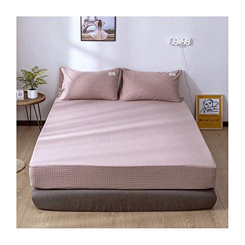 MZP Sábana Bajera Algodón Sábana Grande de 25cm Tejido Suave sin Pliegues Sábana Bajera para colchón 120/150/180cm Double Fitted Bed Sheets (Color : Pink A, Size : 150×200cm)