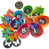 Skoolzy Butterfly Educational Toys for Toddlers - Color Sorting Toys, Counting Toddler Learning Activities & Math Games for Kindergarten - Montessori Preschool - Ages 2 3 4 5 Year Old - 75 pcs