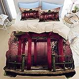 ELIENONO Bettwäsche-Set Einzelbetten,3D-Bedruckt,Pavillon Tai Chi Map Green-Wiesen-Baum-Blumen-Rosa-Nebel,mit Reißverschluss,1 Bettwäsche 240 x 260cm und 2 mal 50 x 80cm Kissenbezug