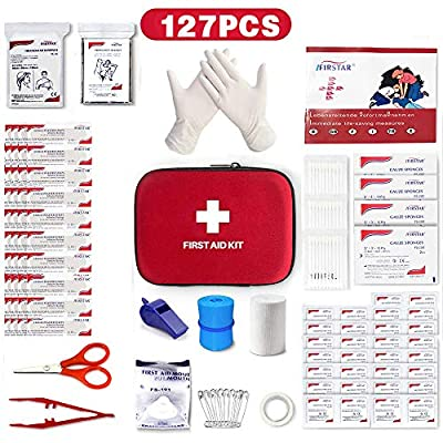 Small Personal First Aid Kit, Outdoor Survival Kit Medical Trauma Kit Bag Includes Emergency Blanket, Holiday Travel University Essentials for Home Office School Car Camping Hiking Accessories