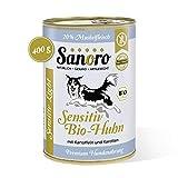 Sanoro Sensitiv Light Bio-Huhn - Premium Hundefutter bei Leishmaniose: Purin- und proteinreduziert in Bio-Qualität. Muskelfleisch vom Bio-Huhn mit Bio-Kartoffel und Bio-Karotte (12 x 400g).