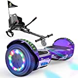 EverCross Hoverboard, Self Balancing Scooter Hoverboard with Seat Attachment, 6.5' Hover Board Scooter with Bluetooth Speaker & Colorful LED Lights, Hoverboards Suit for Adults and Kids