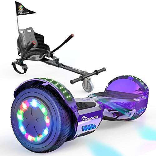 "EverCross Hoverboard, Self Balancing Scooter Hoverboard with Seat Attachment, 6.5"" Hover Board Scooter with Bluetooth Speaker & LED Lights, Hoverboards Suit for Adults and Kids"