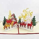 BC Worldwide Ltd hecho a mano 3D pop-up tarjeta de Navidad, tarjeta de felicitación, muñeco de nieve alegre reno trineo regalo árbol de la cabaña mesa ornamento del regalo para el amor amistad familia
