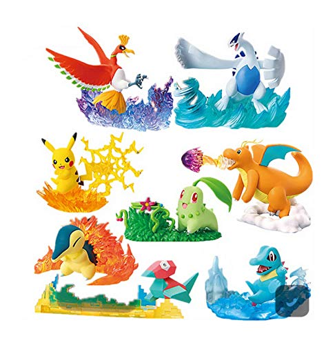 8Stück/ SetPokemonPocket Monster Pikachu Ho-OhLugiaFigurElfenpuppenszenen CharizardActionfigur Kinder Geschenk Spielzeug 4-8Cm