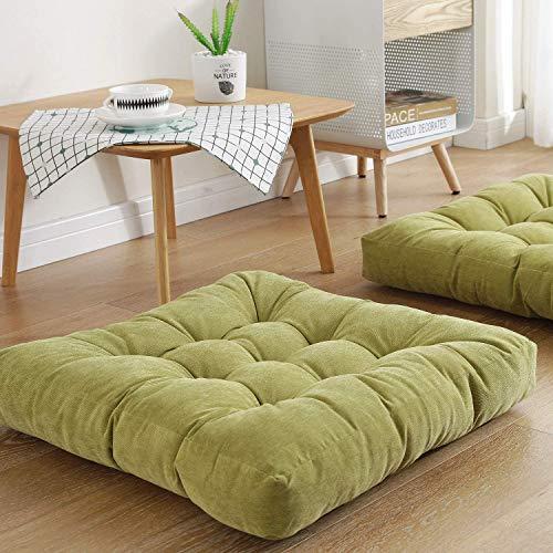 QSCV Square Tufted Floor Pillow,Large Tatami Floor Cushion,Soft Garden Chair Pad,Cotton Thick Cushion Home Balcony Decor-Green 55x55cm
