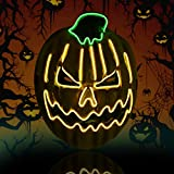 Purge Mask Light Up LED Mask Halloween Scary Masquerade Costume Masks Glowing in The Dark for kids women men, Pumpkin