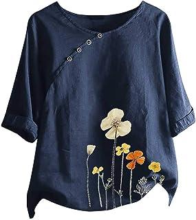 LEKODE - Blusa informal con estampado de flores, para mujer
