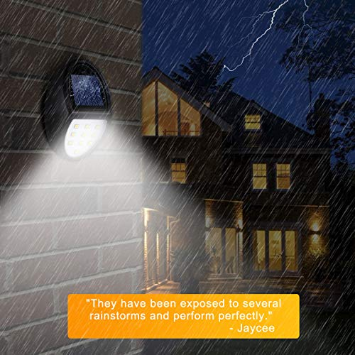 Always on Solar Lights Outdoor Waterproof, Mini Solar Fence Lights for Wireless Lighting in Deck, Step, Porch, Patio, Stair, Garden, Yard, Pathway (4 Pack, 10 LED, 5500K)
