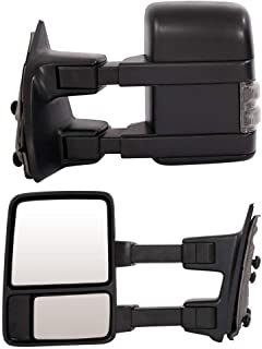 Roadstar Towing Mirrors Fit for 99-07 Ford F250 F350 F450 F550 Super Duty 01-05 Excursion Pair Set Extendable Smoke Power Heated with LED Signal Light Side Mirrors