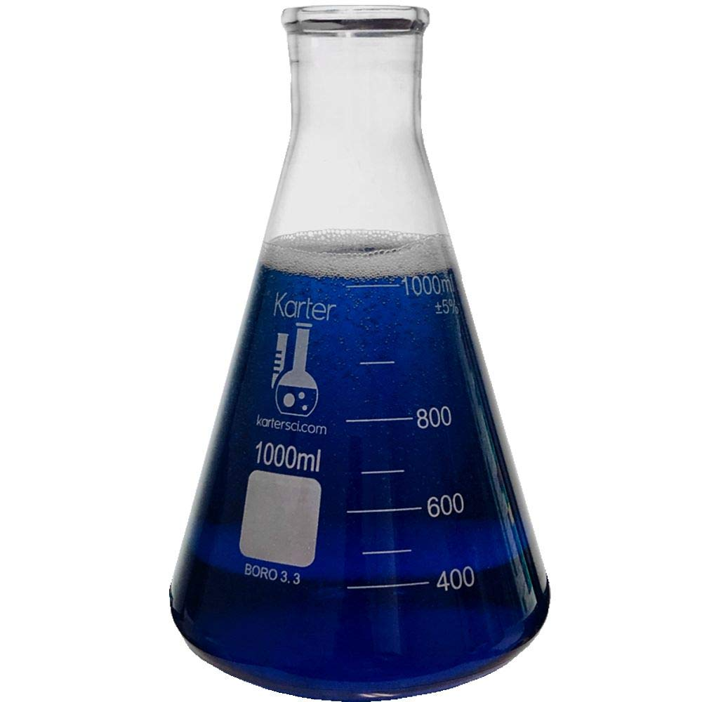 Direct stock discount 1000ml Narrow Mouth Classic Erlenmeyer Flask 3.3 Borosilicate Ka Glass