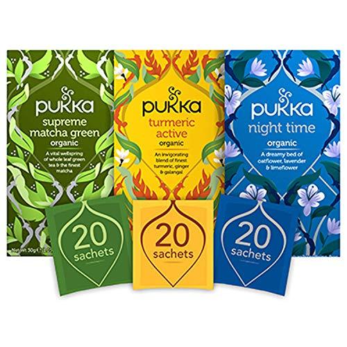Pukka Herbs Day to Night Organic Tea Bundle, Supreme Matcha Green, Turmeric Active and Night Time Tea