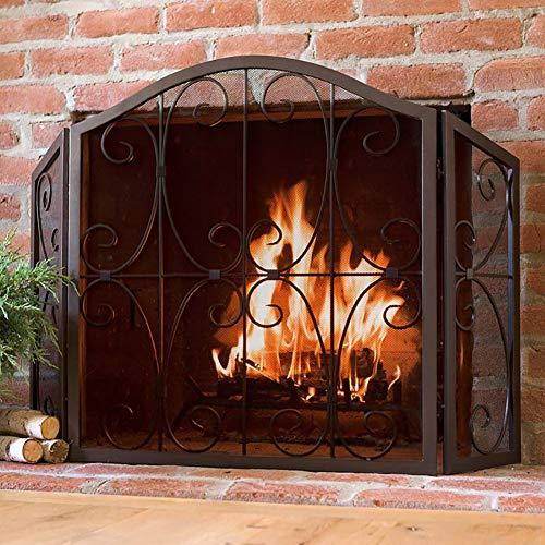 3-Panel-Scroll Kamin Bildschirm Faltbar - Home Küchendekor Netto-Holzofen Zubehör Netz, 31.5inch Hoch