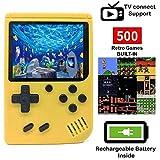 O RLY 500 in 1 Consoles De Jeux Portable Retro FC Plus Console de Jeu 500 Classic Games Mini Joueur de Jeu vidéo (Jaune)