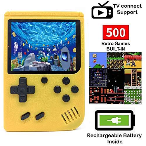 O RLY 500 in 1 Handheld Spielkonsole Retro FC Plus Konsole 500 Retro Classic Spiel, 3 Zoll Bildschirm Mini Videospiel-Spieler (Gelb)