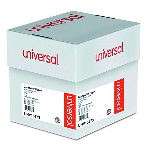 Universal 15873 Multicolor Computer Paper, 3-Part Carbonless, 15lb, 9-1/2 x 11 (Case of 1200 Sheets)