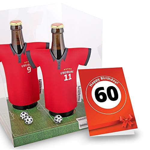 60. Geburtstag | Der Trikotkühler | Das Männergeschenk für Freiburg-Fans | Langlebige Geschenkidee Ehe-Mann Freund Vater Geburtstag | Bier-Flaschenkühler by Ligakakao