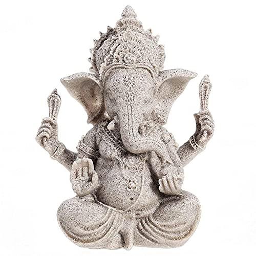 YODOOLTLY Ganesha-Statue, Sandstein, Elefant, Gott, Statue, Fengshui, Buddha-Skulptur, handgefertigt, Geschenk für Heimdekoration