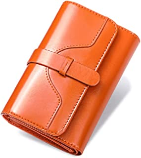 NVSHIBAOBAO Women's Short Retro Oil Wax Leather Buckle Small Coin Wallet (Color : Orange, Size : 14 * 9CM)