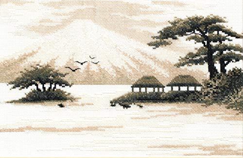 Kit de bordado a mano para adultos 'Fujiyama' – 11 pulgadas x 7.2.5 pulgadas, tela Aida de 16 quilates – Juego de punto de cruz con patrón japonés de paisaje de Fuji, regalo...