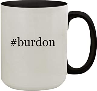 #burdon - 15oz Hashtag Colored Inner & Handle Ceramic Coffee Mug, Black