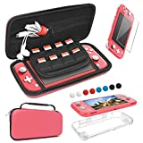 FASTSNAIL Funda de viaje y TPU Funda protectora y cristal templado para Nintendo Switch Lite, 4 en 1 Kit accesorios Carry Case, Soft Protective Case and Tempered Glass Screen Protector Film (Coral)