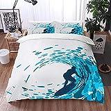ETDWA Set copripiumino, Ride The Wave Silhouette of a Surfer Under Giant Ocean Waves Atleta Hobby Lifestyle, Set copripiumino in Microfibra 240 x 260 cm con 2 federa 50 x 80 cm