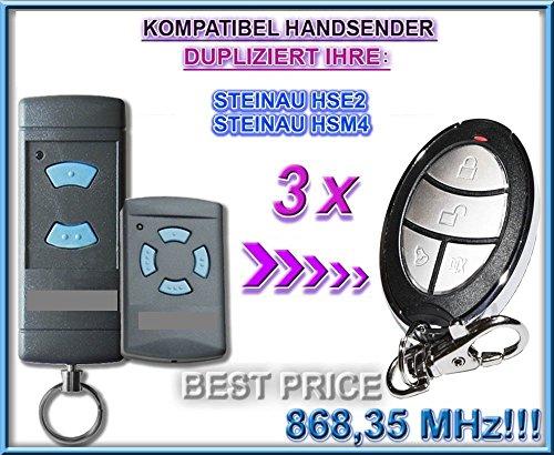 3 X STEINAU HSE2/HSM4 Kompatibel Handsender, Ersatz sender, kompatibel mit Steinau HSE2, HSE4 Handsender, 868.3Mhz fixed code, Klone