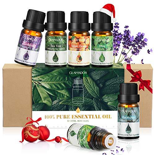 Ätherisches Öl, GLAMADOR Ätherische Öle Set, Essential Oil für Aromatherapie, 100% Rein Öle für Aroma Diffuser, Lavendel, Zitronengras, Teebaum, Minze, Süßorange, Eukalyptus, Geschenkset,(6x10ml)