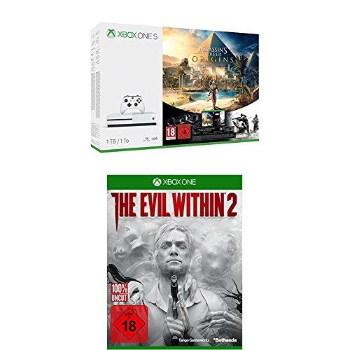 Xbox One S 1TB Konsole - Assassin's Creed Origins Bonus Bundle inkl. Tom Clancy's Rainbow Six: Siege Spiele-Download + The Evil Within 2