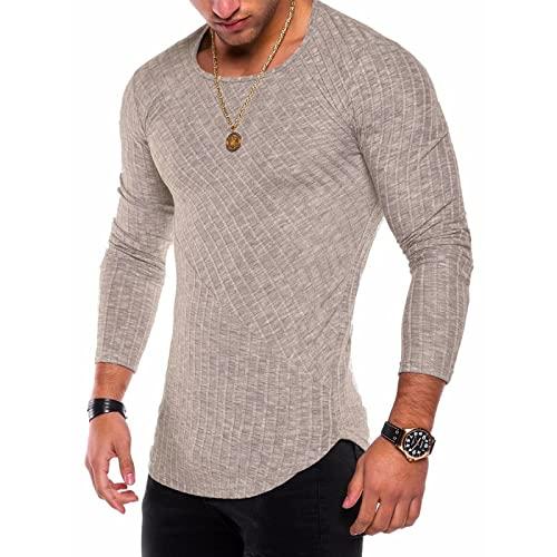 Jerseys para Hombre Moda Delgado Diario Casual Sencillez básica Todo-fósforo Tendencia Commuter Camiseta de Manga Larga de Talla Grande L