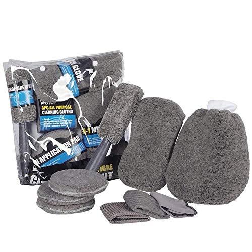 Autopflege Reinigungsset | 9 Teile - Mikrofaser Putztücher Bürsten Schwamm Waschhandschuh | Felgenbürste Reifen und Lackpflege