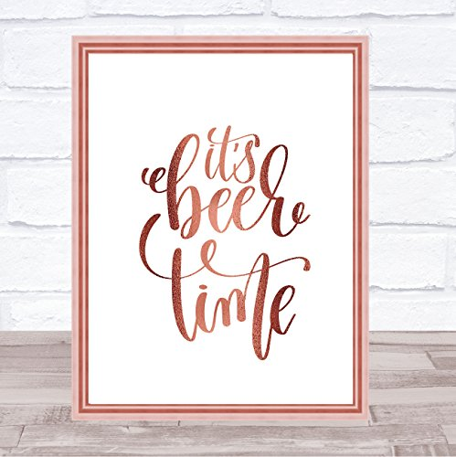De Bier Tijd Quote Print Poster Rose Goud Muur Kunst Framed White Small