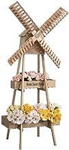 Strong Carrying Capacity Flower Holder Flower Holder Wood Shelves Creative Garden Home Windmill Racks Display Personalized...