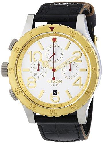 Nixon 48-20 Chrono Leather Silver Gold Black - Reloj de Cuarzo para Hombre, Correa de Cuero Color Negro