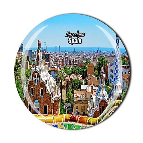 Imán para nevera, diseño de Barcelona, España, recuerdo de viaje, 3D, cristal para decoración del hogar, cocina