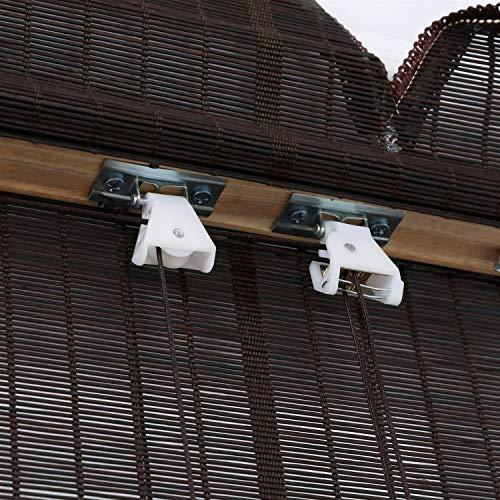 Bambú ruede for Arriba Oculto de la Ventana con el Lazo Independiente Porche de 21 Pulgadas Balcón Negro Tamaño Ancha Personalizada (Color : Wave, Size : 21