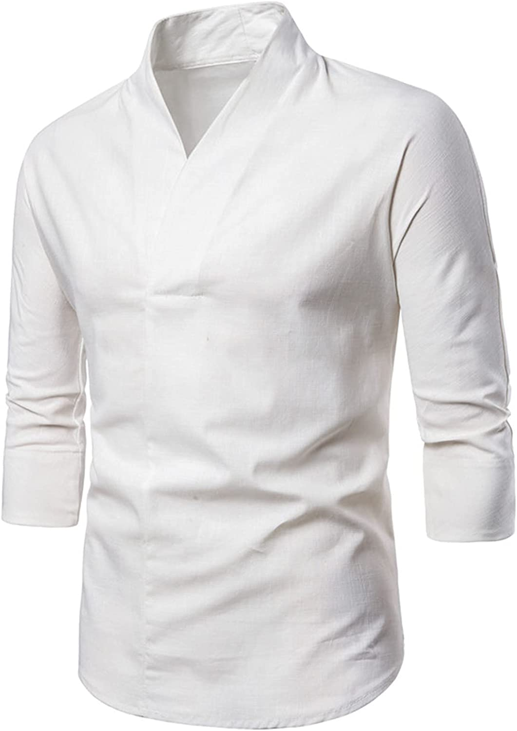 Mens Long Sleeve Dress Shirts Regular Fit Casual Business Work Henly Shirt Fashion V Neck Pullover Tops