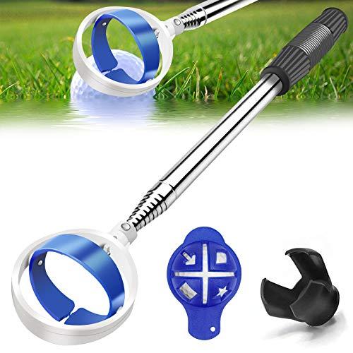 Golf Ball Retriever, Extendable Golf Ball Retriever for Water [Longest 78.7''] w/Golf Ball Pick Up Retriever Grabber Claw Sucker Tool, Golf Gift for Men Dad Husband, Length: 6.56 Ft / 2 m