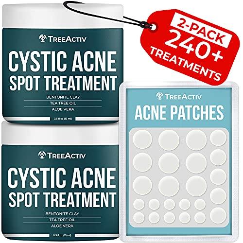 TreeActiv Cystic Acne Spot Treatment   Sulfur 3% & Tea Tree Oil Blemish Remover for Face & Body   Zit, Milia, Severe & Hormonal Acne Treatment for Teens, Adults, Men, & Women   240+ Treatments, 2-Pack