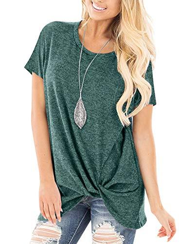 Yidarton Women's Comfy Short Sleeve Twist Knot Tops Blouses T Shirts Green