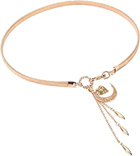 MYCHOMEUU Moon Hook Gold and Silver Pendant Waist Chain with Skirt Belt Sweater Waist Chain Spring and Summer New (Color : Golden, Size : 62cm)