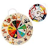 EXTSUD Juguete Educativo de Madera para Niños, Juguete Matemático de Doble Cara, Juguete Montessori para Aprendizaje Aritmético y Reconocimiento de Animales para Niños