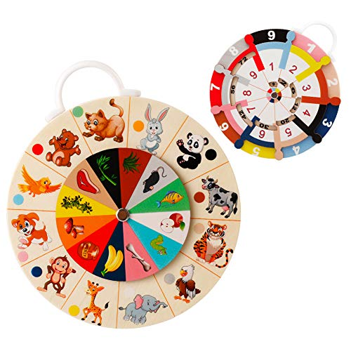 EXTSUD Mathe Spielzeug, Doppelseitiges Multiplikation Holzbrett Pädagogisches Montessori Lernspielzeug Zum Rechnen und Tiererkennung Lernen für Kinder Vorschulkinder Kindergarten