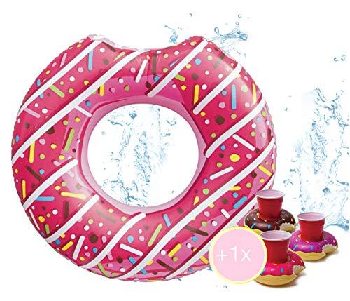 Aufblasbar angebissener Donut Ø 120 cm Schwimmring Schwimmreifen Luftmatratze Schwimmkissen für Pool & Wasser Wasserspielzeug, mit 1x Getränkehalter für Kinder & Erwachsene pink (Pinker Donut)