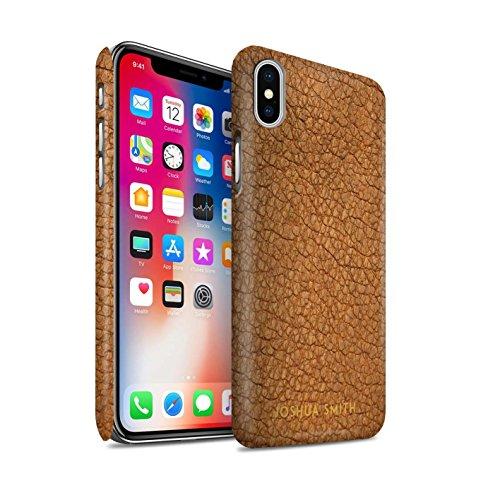 Personalizzato Effetto Pelle Personalizzare Matte Custodia/Cover per Apple iPhone XS/Timbro Marrone Cacao Design/Iniziale/Nome/Testo Caso/Cassa Duro Snap On