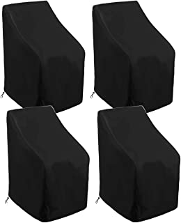 skyfiree 4 Pack Stacking Patio Chair Cover 35x35x47/35 inch Waterproof Durable Stackable Patio Chairs Outdoor Furniture Co...